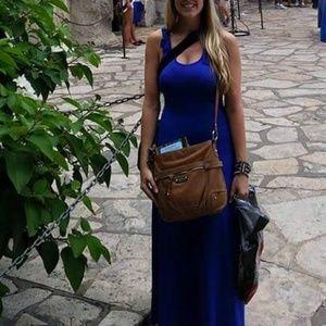 Bright Blue Crochet Back Maxi Dress